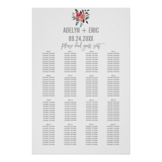 Modern Gray | Winter Flower Wedding Seating Chart Poster