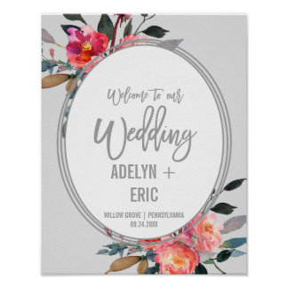 Modern Gray | Winter Flower Wreath Wedding Welcome Poster