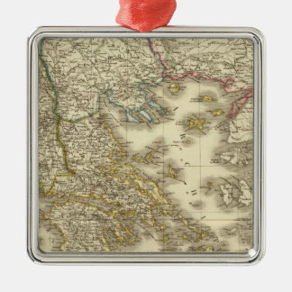 Modern Greek Islands, Albania, Macedonia Silver-Colored Square Decoration