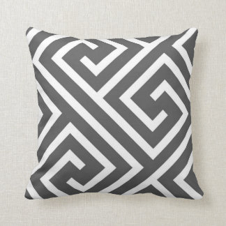 Modern Greek Key Pattern in Charcoal and White Cushion