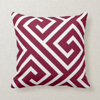 Modern Greek Key Pattern in Cranberry and White Throw Pillow