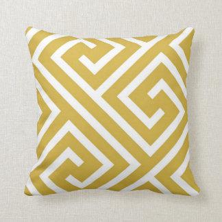 Modern Greek Key Pattern in Mustard and White Throw Pillow