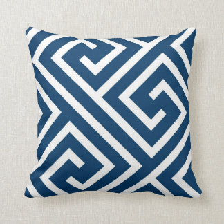 Modern Greek Key Pattern in Navy and White Cushion