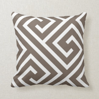 Modern Greek Key Pattern in Taupe and White Cushion