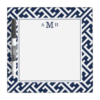 Modern Greek Key Pattern Monogram Dry Erase Board
