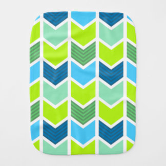 Modern Green and Blue Geometric Chevron Pattern Burp Cloth
