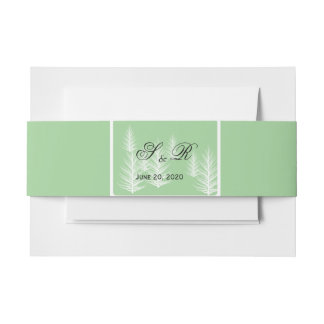 Modern Green and Brown Forest Wedding Invitation Belly Band