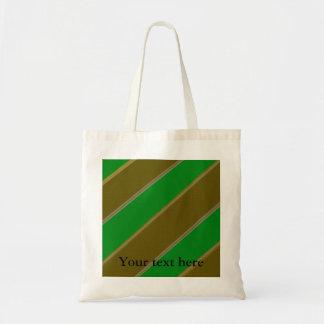 Modern green and gold diagonal stripes budget tote bag