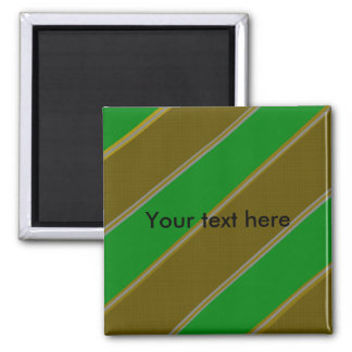 Modern green and gold diagonal stripes square magnet