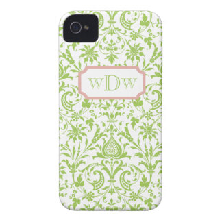 Modern Green and White Damask and Dusty Pink Frame Case-Mate iPhone 4 Cases