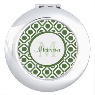 Modern Green and White Geometric Monogrammed Name Compact Mirrors