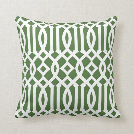 Modern Green and White Imperial Trellis Cushion