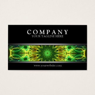 Modern Green and Yellow Mandala Business Card