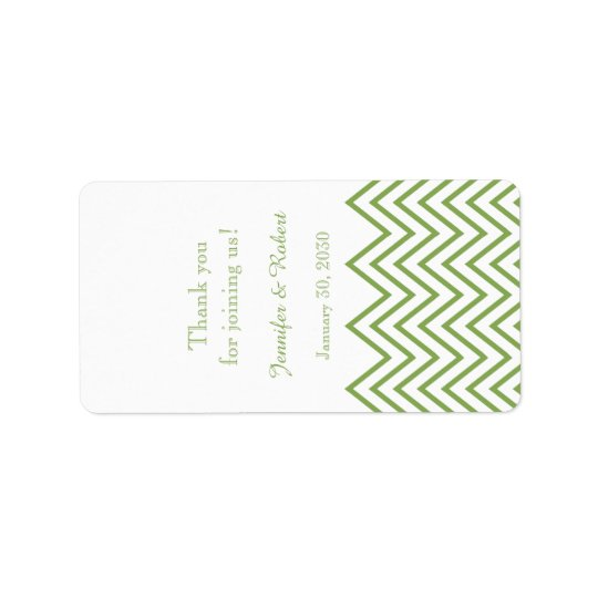 Modern Green Chevron Wedding Lip Balm Label
