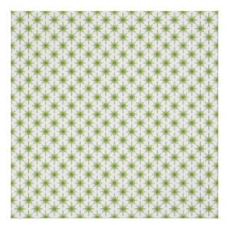 Modern Green Christmas Star Pattern Poster