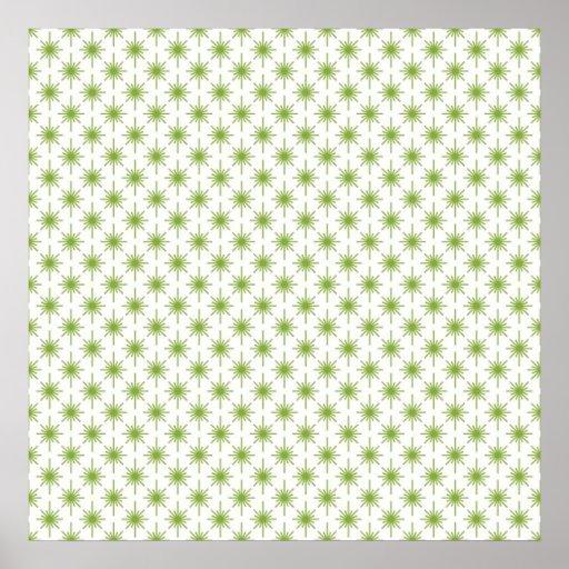 Modern Green Christmas Star Pattern Print