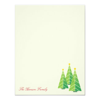 Modern green Christmas trees cream thank you note Card