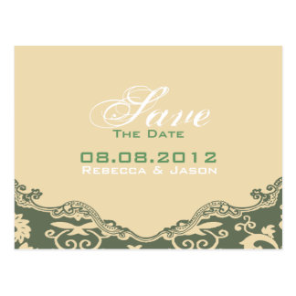 modern Green cream Floral country savethedate Postcards