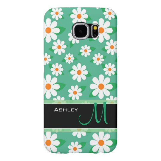 Modern Green Daisy Floral Flowers Pattern Monogram Samsung Galaxy S6 Cases