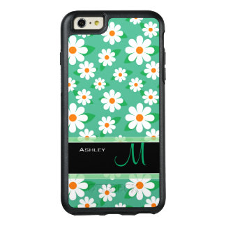 Modern Green Daisy Floral Pattern Monogram Name OtterBox iPhone 6/6s Plus Case
