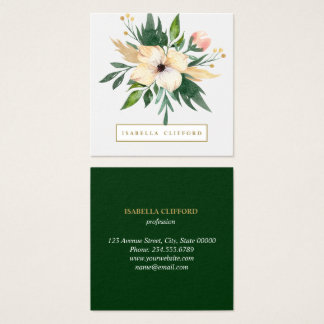 Modern Green delicate Flowers in bloom Watercolor Square Business Card