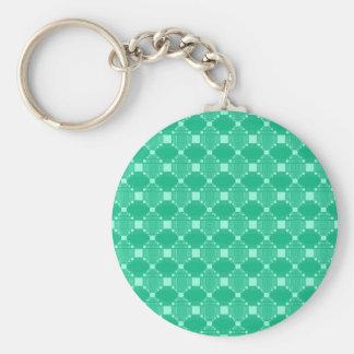 Modern Green Diamond And Squares Pattern Basic Round Button Key Ring