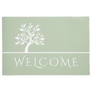 Modern Green Elegant Classy Tree YOGA Welcome Doormat