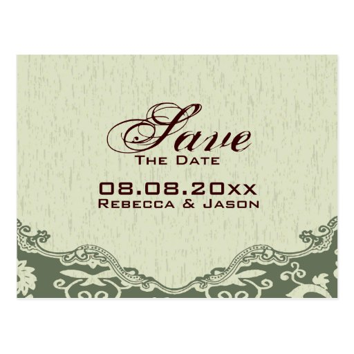 modern Green Floral country wedding SaveTheDate Post Cards