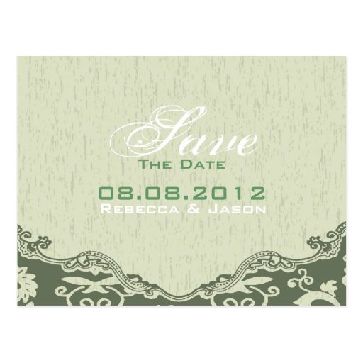 modern Green Floral country wedding SaveTheDate Post Card