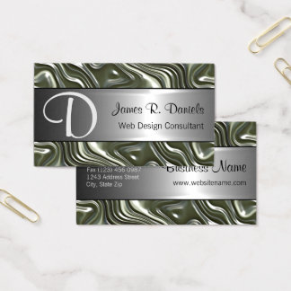 Modern Green Gray White 3D Liquid Swirls Pattern Business Card
