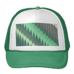 Modern Green Grey Turquoise Ikat Chevron Zigzag Cap