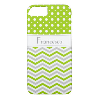 Modern green, grey, white chevron & polka dot iPhone 7 case