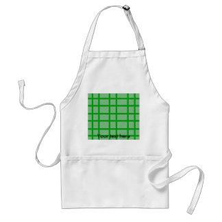 Modern green grid pattern adult apron
