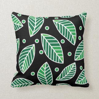 Modern Green Leaf Pattern On Black Throw Pillow