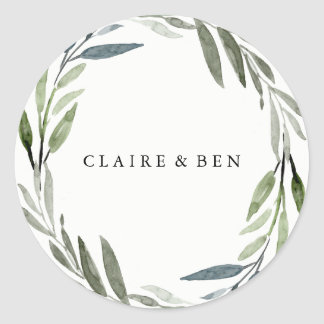 Modern Green Leaf Wreath Wedding Sticker
