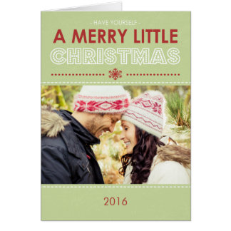 Modern Green Merry Little Folded Christmas Cards