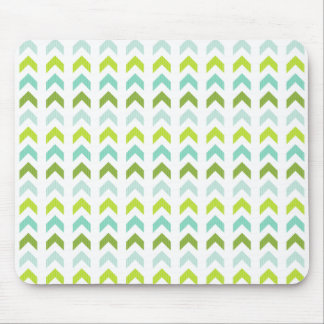Modern Green, Mint, Aqua, White Geometric Pattern Mouse Mat