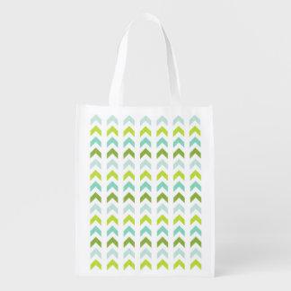 Modern Green, Mint, Aqua, White Geometric Pattern Reusable Grocery Bag