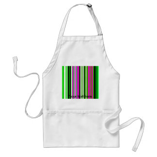 Modern green pink and white stripes adult apron