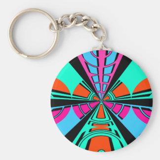 Modern green pink blue semi-circle design basic round button key ring