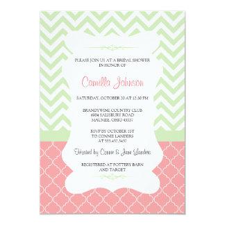 Modern Green & Pink Elegant Chevron Bridal Shower 13 Cm X 18 Cm Invitation Card