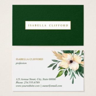 Modern Green Pink Flowers in bloom Watercolor Business Card