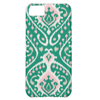 Modern green pink girly ikat tribal pattern iPhone 5C case