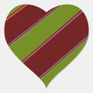 Modern green red diagonal stripes heart stickers