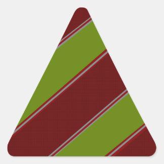 Modern green red diagonal stripes triangle sticker