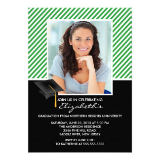 Modern Green Stripe Graduation Party Announcement