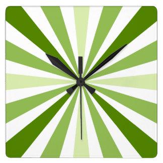 Modern Green Striped Clock