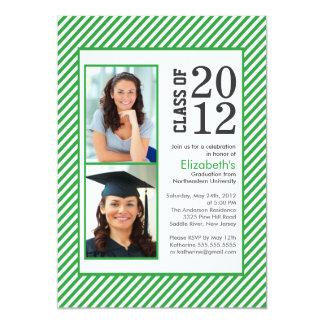 Modern Green Stripes Photo Graduation invitation