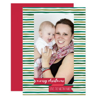 Modern Green Stripes - Photo Holiday Card