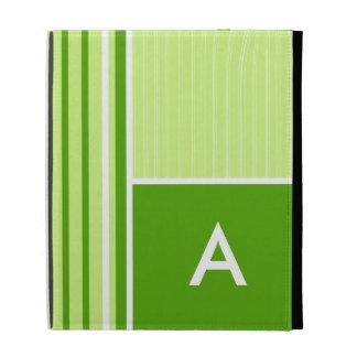 Modern Green Stripes; Striped iPad Folio Cover